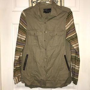 Olive green jacket with cute colored sleeves